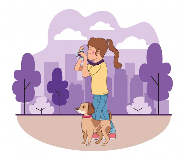 Teenager smiling and walking the dog cartoon Premium Vector