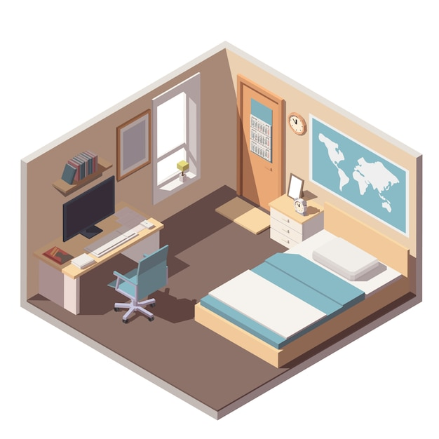 Teenager or student room interior icon with bed, desk, computer and bookshelf Premium Vector