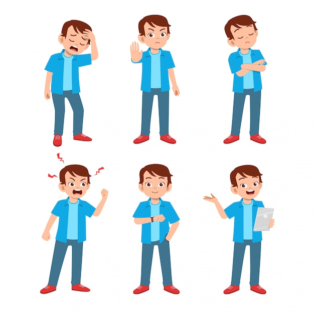 Teenager with many gesture expressions Premium Vector