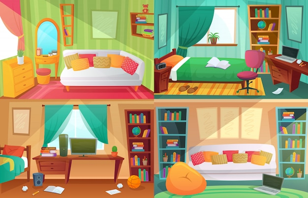 Teenagers bedroom, student cluttered room, teenager college house apartment and home rooms furniture cartoon Premium Vector