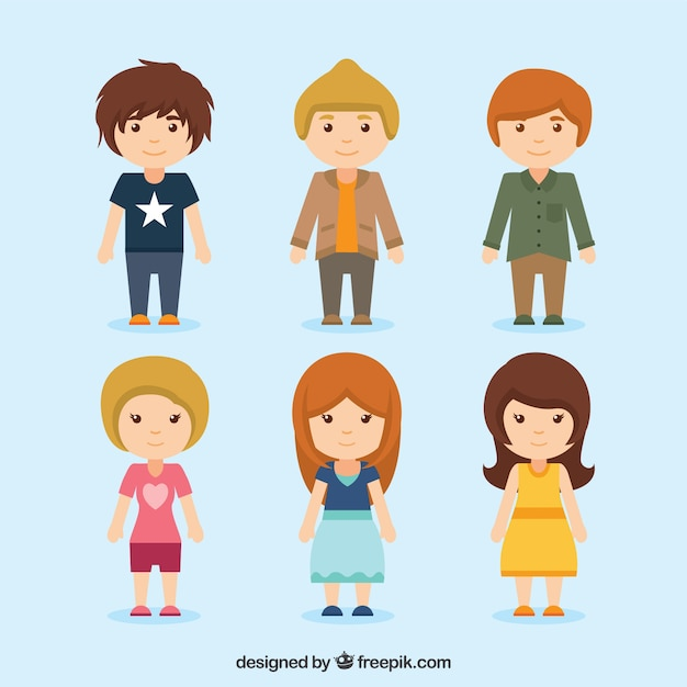 Teenagers Character Collection Premium Vector