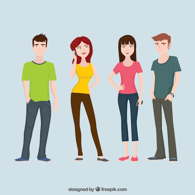 Teenagers Character Flat Collection Free Vector