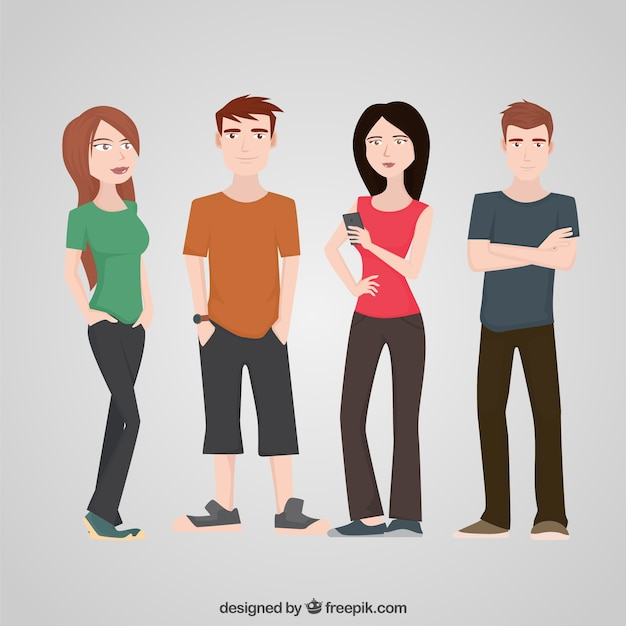 Teenagers Character Flat Set Free Vector