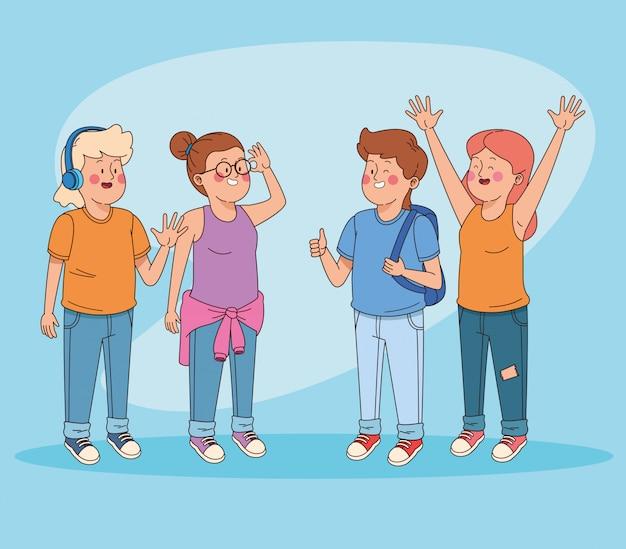 Teenagers friends having fun cartoons Free Vector