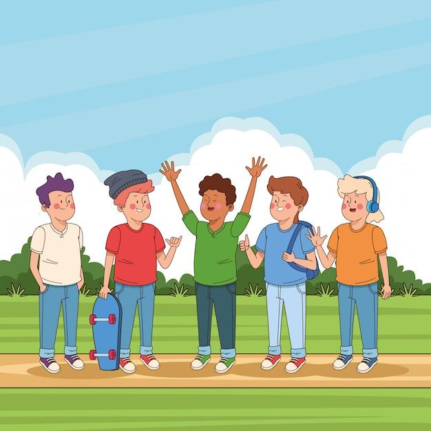 公園の漫画で10代の若者の友達 無料ベクター