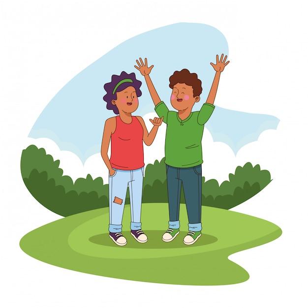 Teenagers friends at park cartoons Free Vector