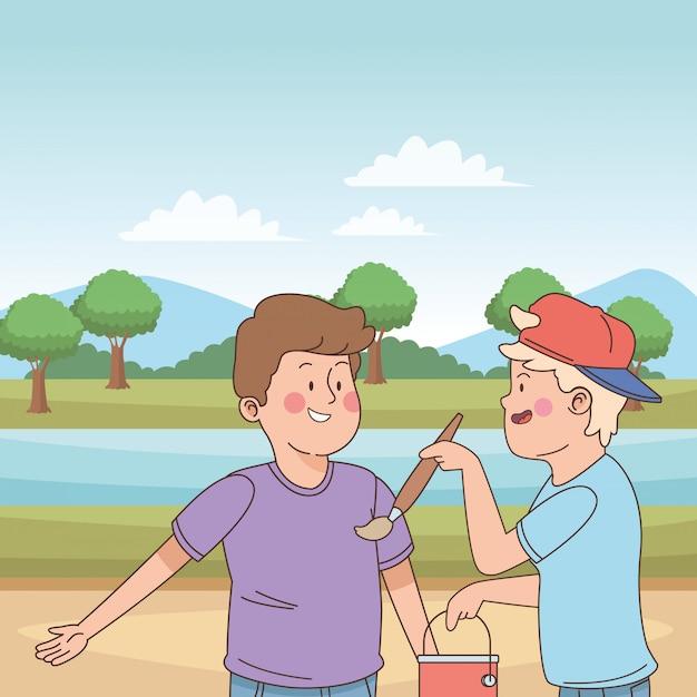 Teenagers friends smiling and having fun cartoon Premium Vector