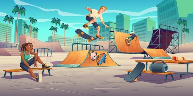 スケートパークのティーンエイジャー、ローラードロームは、クォーターパイプランプとハーフパイプランプのイラストでスケートボードジャンプスタントを実行します 無料ベクター