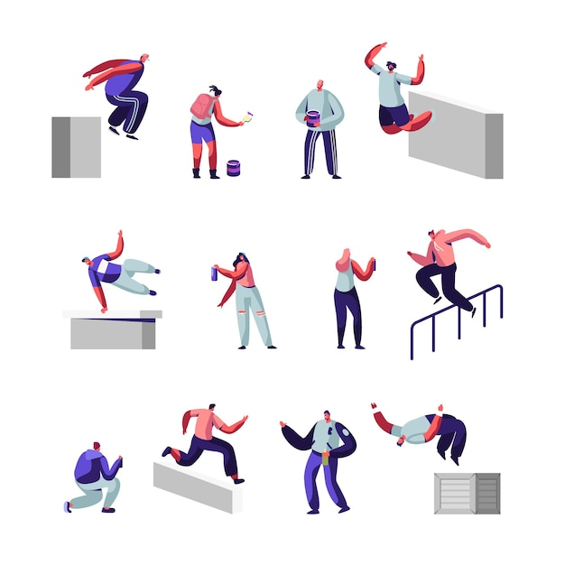 Teenagers making parkour tricks and paint graffiti on street set. Premium Vector