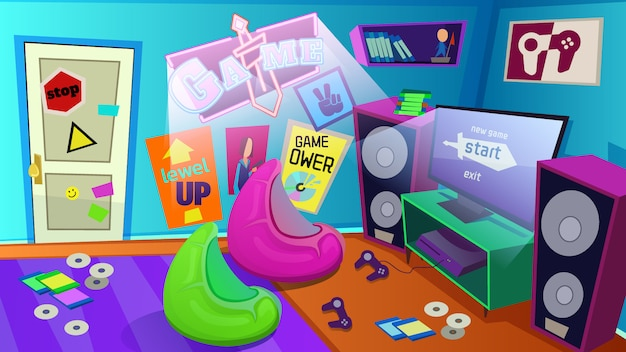 Teenagers room with play station, gamer apartment Premium Vector