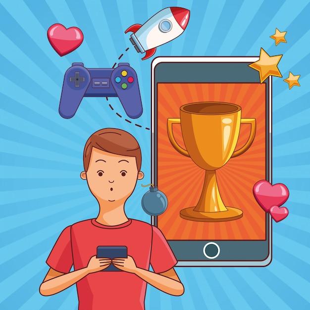 Teenagers and smartphone games Premium Vector