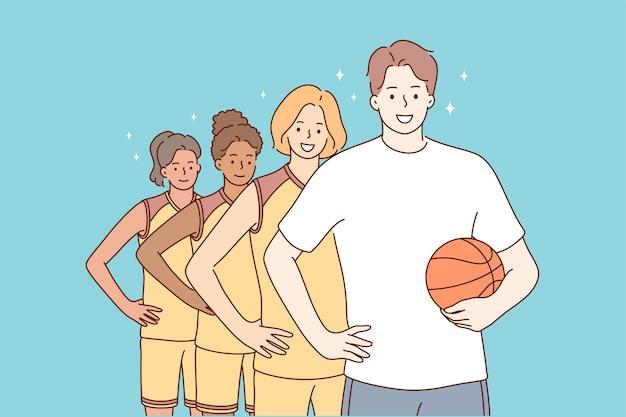 Подростки, стоящие вместе с персонажем тренера человека Premium векторы