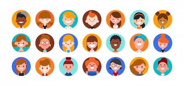 Teens and kids avatar collection. cute children, boys and girls faces. flat design style cartoon illustration isolated Premium Vector