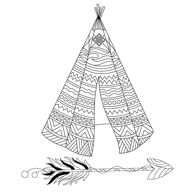 Teepee with ornamental design Vector | Premium Download