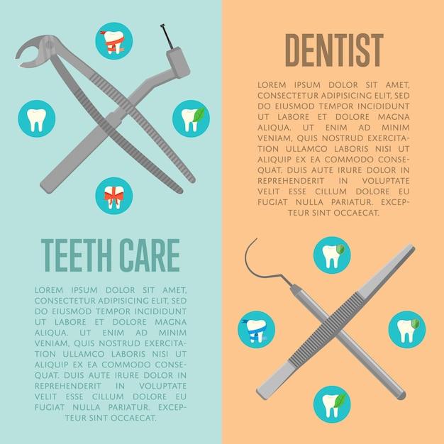 歯のケアと歯科医の垂直チラシ Premiumベクター