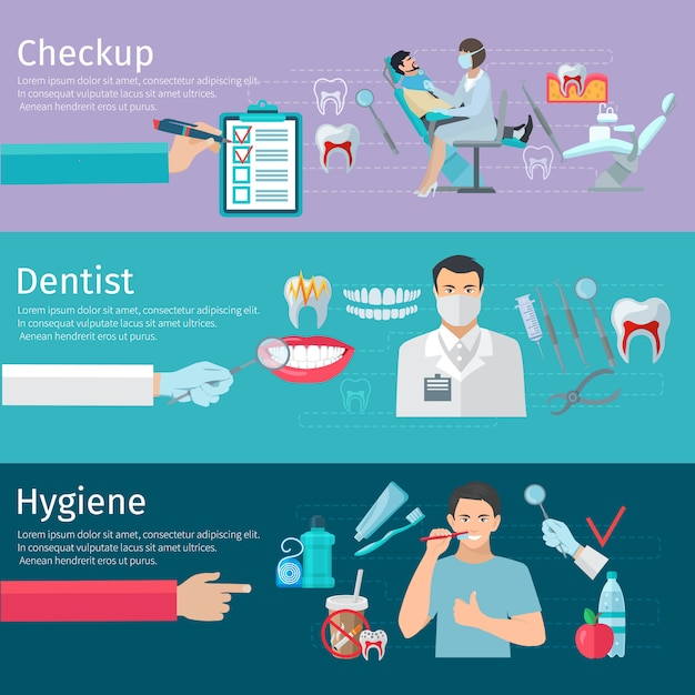 Teeth care horizontal banners set of\ prophylactic checkup dentist tools and hygiene products flat\ ve