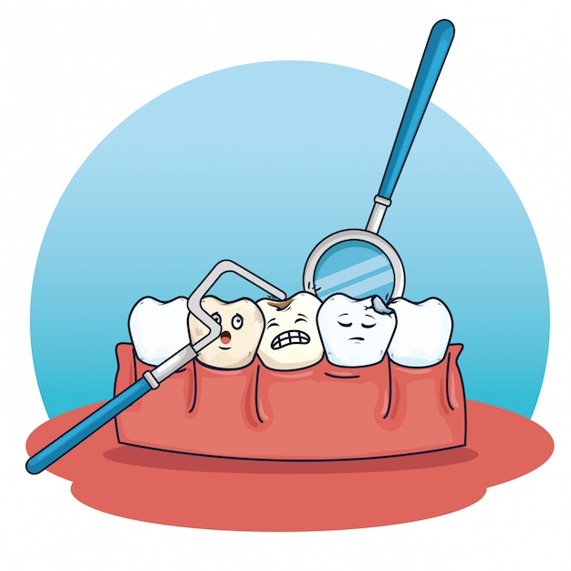 Teeth care with excavador and mouth mirror equipment Free Vector
