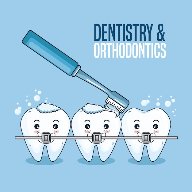 Teeth care with orthodontic and toothbrush tool Free Vector