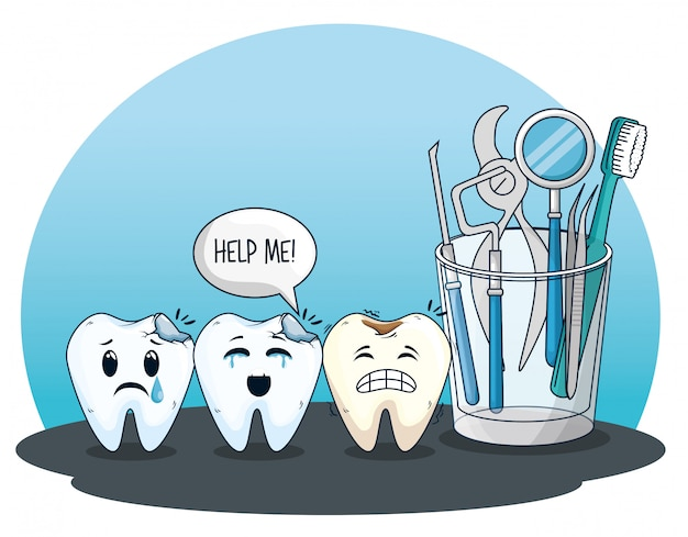 Teeth care with professional medicine equipment Free Vector