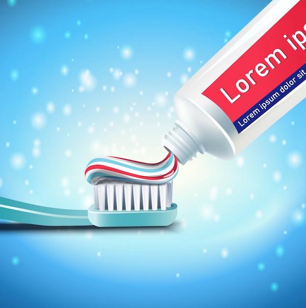 歯のクリーニングとブラッシングの背景。 Premiumベクター
