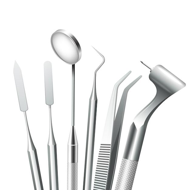 Зубная стоматологическая медицинская техника стальные инструменты установлены реалистично Бесплатные векторы