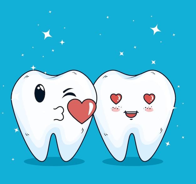 Teeth helathcare with hygiene medicine treatment Free Vector