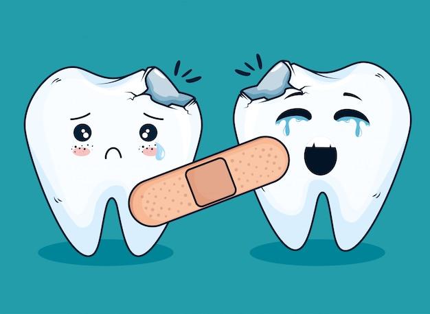 Teeth medicine treatment with aid band Free Vector
