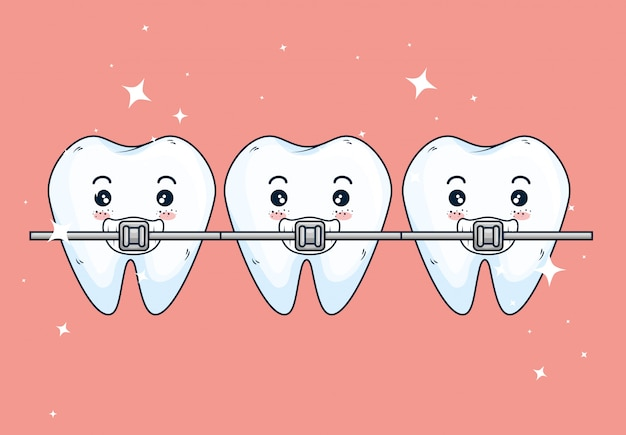 Teeth orthodontist treatment to dentistry healthcare Free Vector