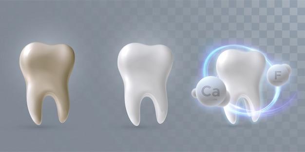 明るい黄色の背景、3 dイラストレーション上で分離、クリーンからダーティープロセスに設定された歯 Premiumベクター