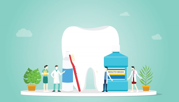 Teeth or tooth care healthy with team doctor and big teeth and some tools to clean Premium Vector