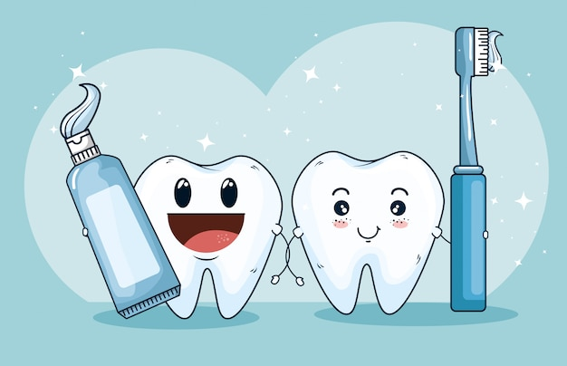 Teeth treatment medicine with toothpaste and toothbrush Free Vector