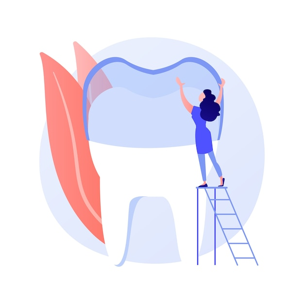Teeth wear silicone trainer abstract concept vector illustration. invisible orthodontic braces, silicon teeth wear, dental training, dental care, crowded tooth treatment method abstract metaphor. Free Vector