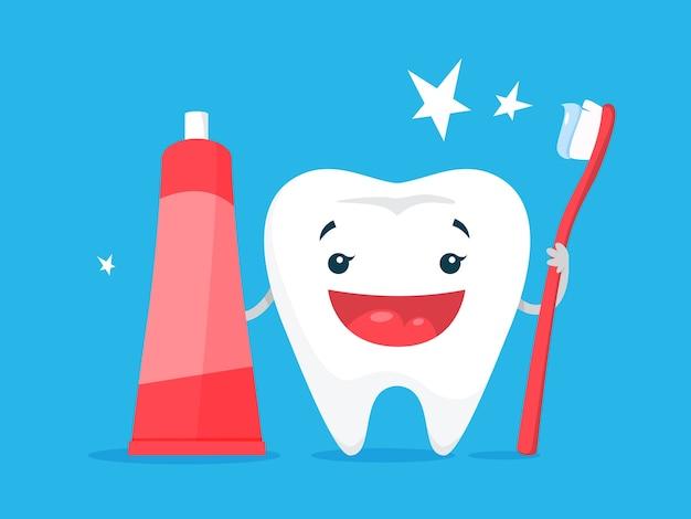 Концепция отбеливания зубов. зуб стал белым в стоматологической клинике. концепция защиты и лечения. иллюстрация Premium векторы