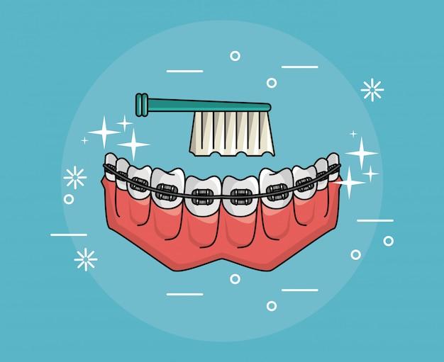 Teeth with braces dental hygiene Premium Vector