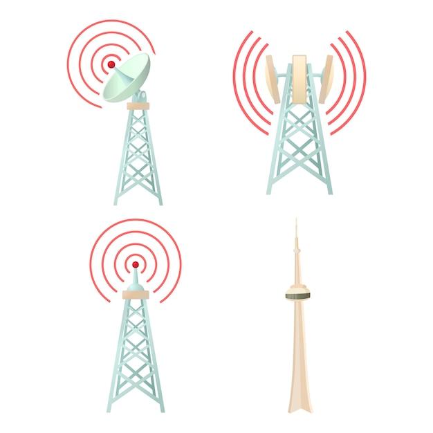 Tele communication tower icon set Premium Vector