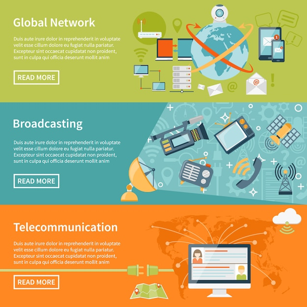 Telecommunication banners Free Vector