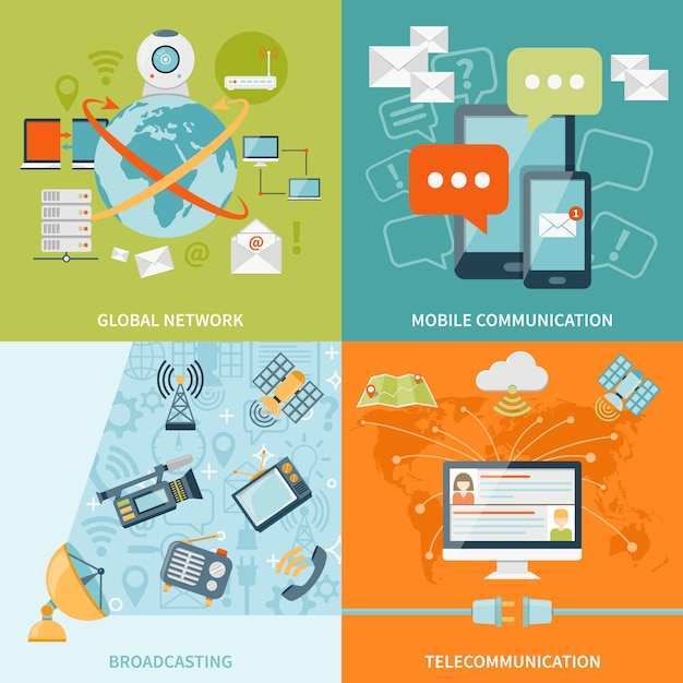 Telecommunication design concept Free Vector