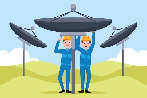 Telecommunication engineer profession Premium Vector