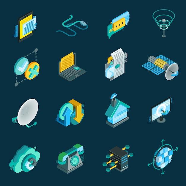 Telecommunication isometric icons set Free Vector