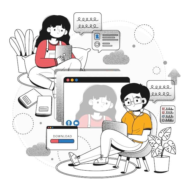 Telecommuting концепция иллюстрации Бесплатные векторы