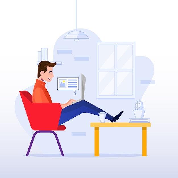 Telecommuting concept with man at home Free Vector
