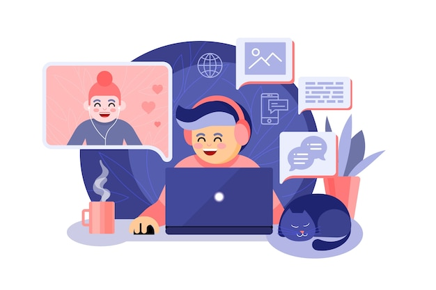 Telecommuting concept with people talking on video call app Free Vector