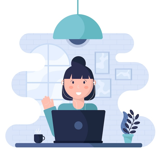 Telecommuting concept with woman Free Vector