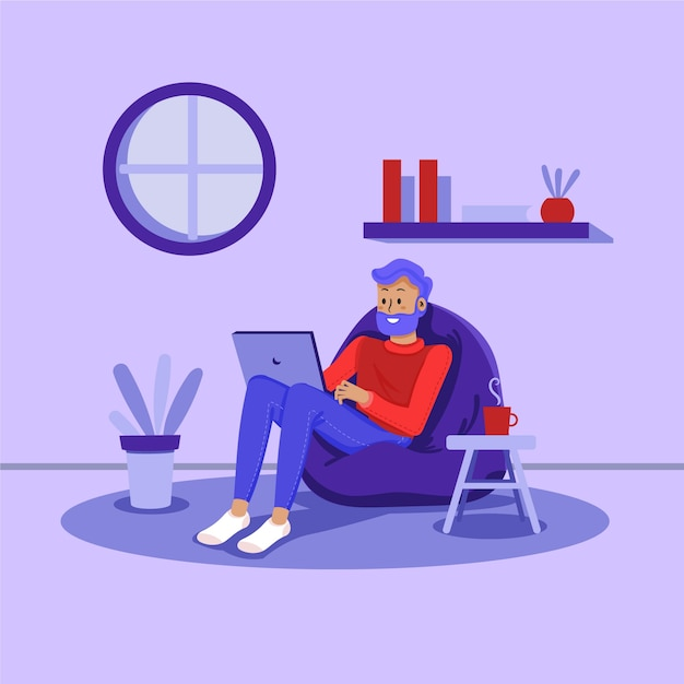 Telecommuting concept Free Vector