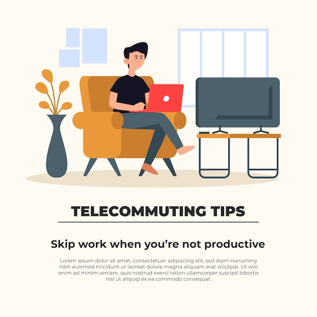 Telecommuting tips concept Free Vector