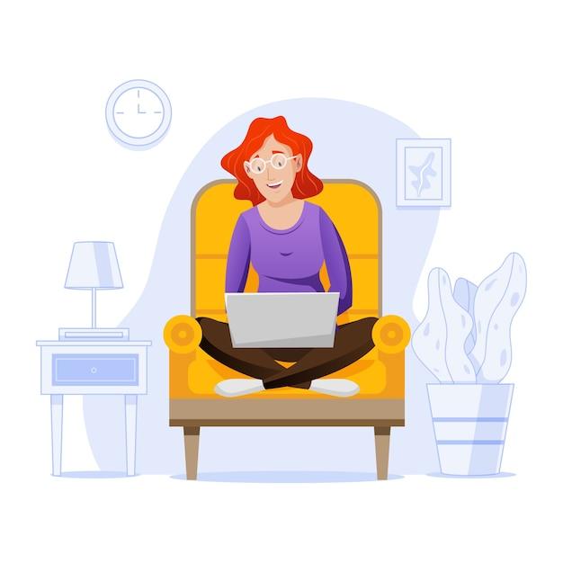 Telecommuting концепция с женщиной у себя дома Бесплатные векторы
