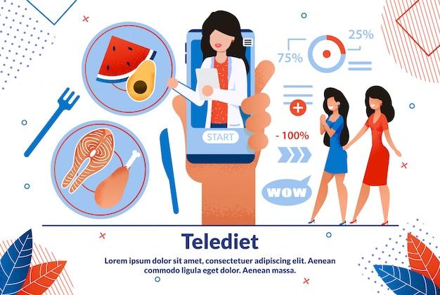 Teledietアプリケーションフラットバナーテンプレート Premiumベクター