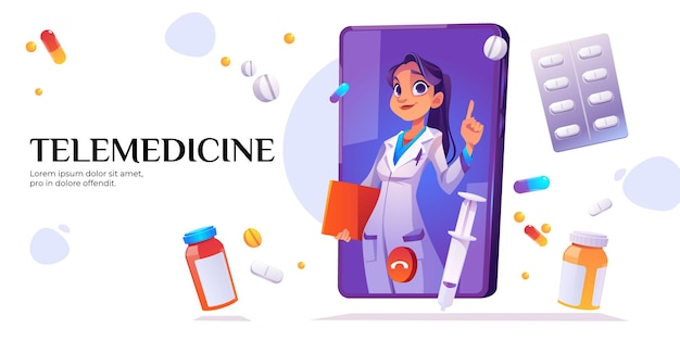 Telemedicine banner. medical online consultation with doctor on mobile phone screen. Free Vector