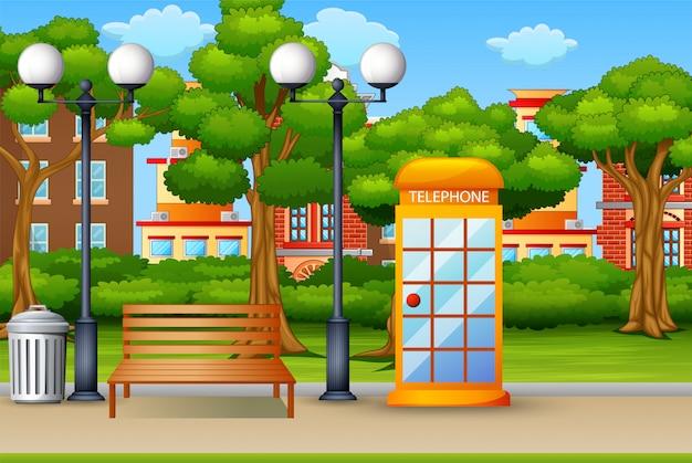 Telephone box in the city park background Premium Vector