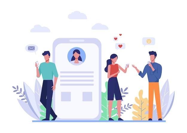 電話とメッセージング、コミュニケーションフラット。スマートフォンの顔のないキャラクターを持っている人。携帯電話の画面 Premiumベクター